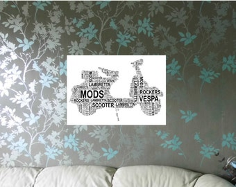 Motor Scooter Personalised Word Art Print, FREE UK P&P. Special Gift, Typography, Retro, Vespa, Lambretta,