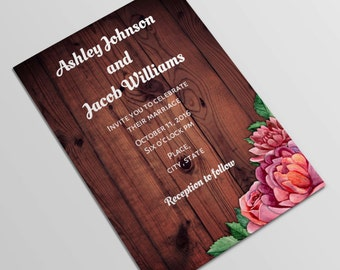 Woodland wedding invitation template Forest wedding invitation diy Wood wedding invites printable Nature invitation card Rustic wedding 1T44