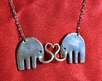 Elephant Love Necklace Made From Antique Silver Plated Forks