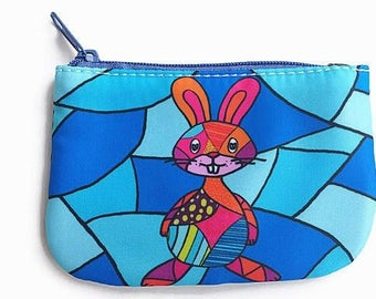 coin purse with a rabbit, change purse, card holder wallet, penny bag, pouch, small wallets, bunny, penny bag