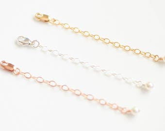 Bracelet or Necklace Extender Chain with Pearl, Sterling Silver, 14K Gold Filled, Rose Gold Filled
