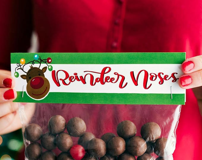 Reindeer Noses - Printed Bag Toppers for Snack Size Ziploc Baggies