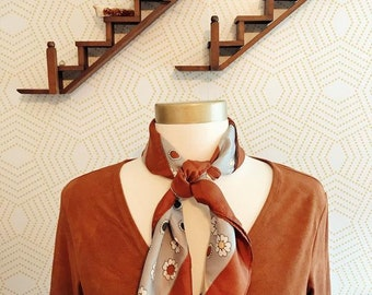 Brown and Grey Floral Silk Neck Scarf