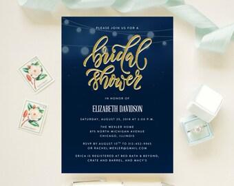 String Lights Bridal Shower, Luncheon, Brunch Invitation Faux Gold Design  // Rustic, Garden, Floral // Printed Cards and Envelopes