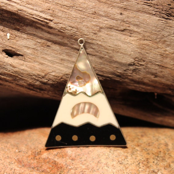 Large Vintage Mexico Sterling Silver Triangle Pendant 6.6 Grams Abalone Necklace Pendant Large Silver Pendant Vintage Mexico Pendant
