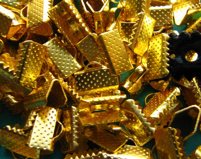 144 pieces 10mm or 3/8 inch Gold Ribbon Clamp End Crimps