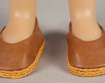 Handmade Ballet Flats - Butterscotch Faux Leather - Caramel Smootness! - Fits Kidz N Cats Dolls Perfectly!