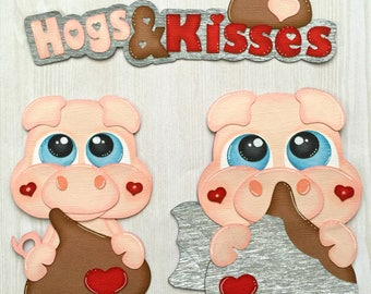 Hogs & Kisses Valentine's Day Paper Pieced Die Cut Embellishments for Scrapbooking, Card Making, Paper Crafting, Decorating