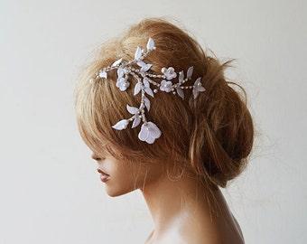 Bridal hair Comb, Wedding Headband, White Hair Piece, Laced Headband,  Wedding Hair Accessories