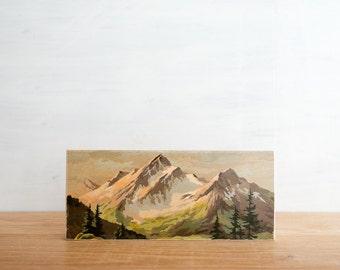 Paint by Number Art Block 'Twin Peaks' -  mountain valley, vintage landscape