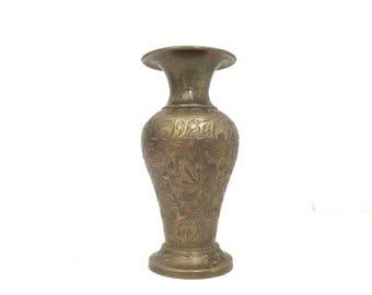 Mini Vintage Etched Brass Bud Vase