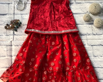 Red Desi Children's Outfit (Lehnga and Top)