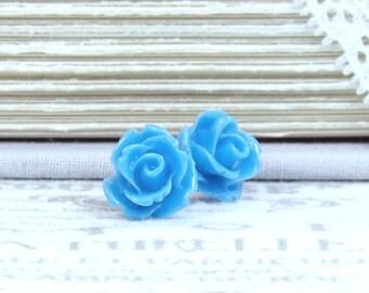 Blue Rose Earrings Blue Rose Studs Blue Flower Earrings Blue Stud Earrings Surgical Steel Studs