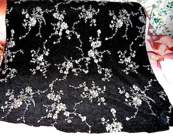 Vintage Fabric Shiny Silver Flowers on Black Remnant