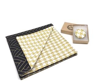 Gold Pocket Square, Gold Houndstooth Pocket Square, Gold Herringbone Pocket Square, Double Sided Pocket Square