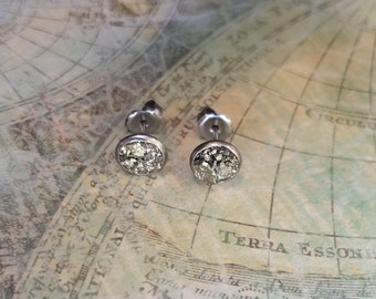 Hypoallergenic Pyrite Stud Earrings, Surgical Stainless Steel EarRings, Birthday Gift, Small Earrings, Dainty Pyrite Earrings, Stud Earrings