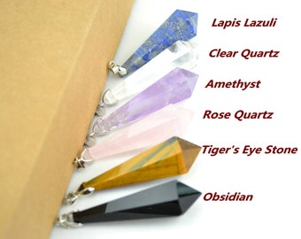 Natural Rock Quartz Point Tiger's Eye Rose Crystal Quartz  Lapis Lazuli Pointed Amethyst Pendulum Charm Pendant Prism Chakra