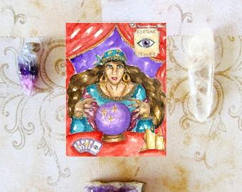 Fantasy Art Fortune Teller Prayer Card Gypsy Witch Art Pagan Art Spiritual Magick Divination Witchcraft Ritual Mythological Dark Goddess