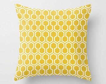 Honeycomb Geometric Pillow  - Mustard Yellow -  Modern Throw Pillow - Home Decor - By Aldari Home