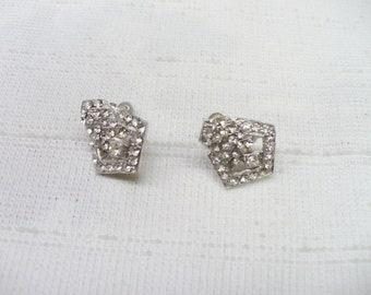 STUNNING Vintage Authentic 1920s Art Deco Rhinestone Earrings - silver tone metal -screw back design - vintage wedding set - bridesmaid gift