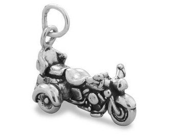 Motorcycle Charm, Trike Motorcycle Charm, Bike, Cycle, Stamped .925 Sterling Silver, Tricycle, Hobby Charm, Charm For Motorcycle Riders
