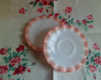 """Vintage Hazel Atlas Ripple Pink Crinoline 5 1/2"""" Saucers (3)"""