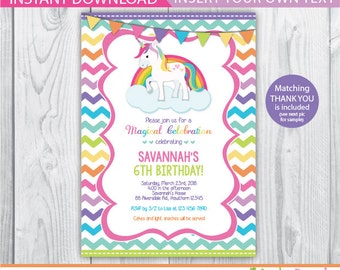 rainbow unicorn birthday / unicorn invitation / unicorn birthday invitation / rainbow unicorn invitation / rainbow unicorn party / INSTANT