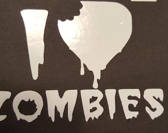 I love zombies vinyl decal