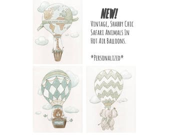 Travel Theme Nursery Set Of 3 Prints, Personalized Vintage Hot Air Balloon Nursery, Baby Shower Gift, Air Balloon Wall Art, Air Balloon Baby
