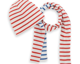 striped beanie hat for toddler, slouchy beanie toddler, red white and blue striped hat and scarf, organic kids beanie, organic cotton beanie