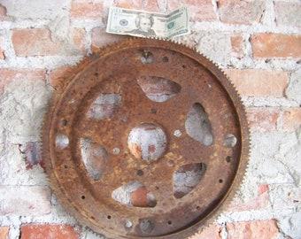Old, vintage flywheel, sprocket, gear