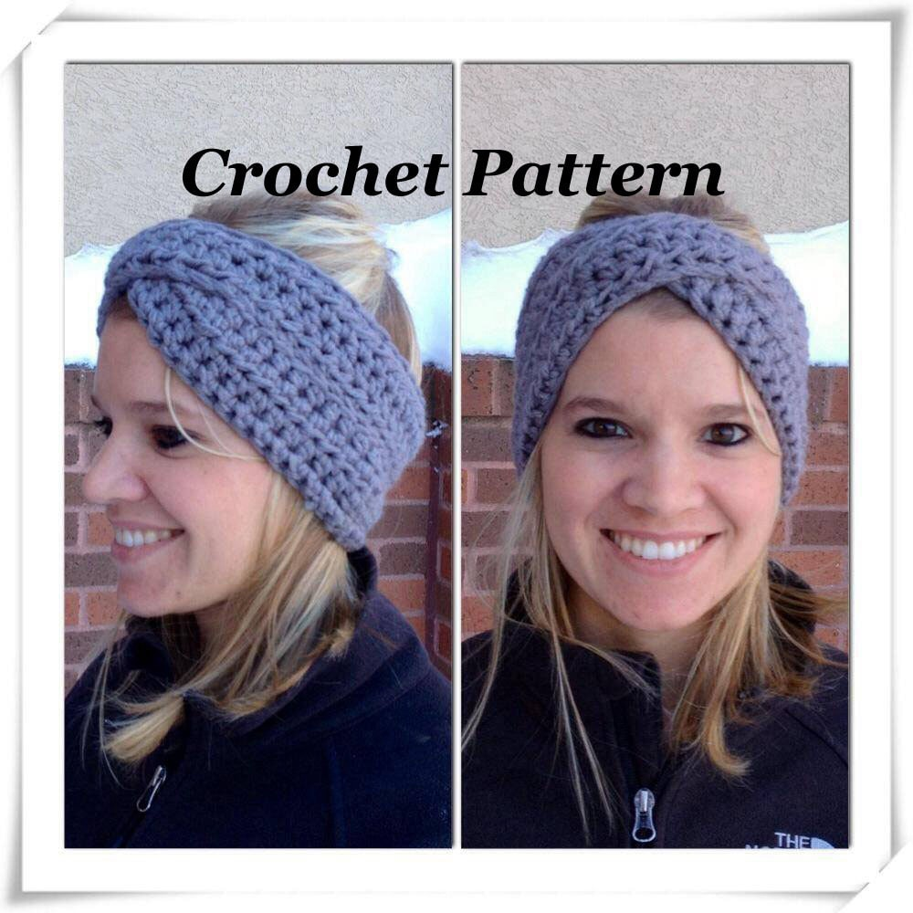 CROCHET PATTERN: Crossover Headband Crochet Winter Headband