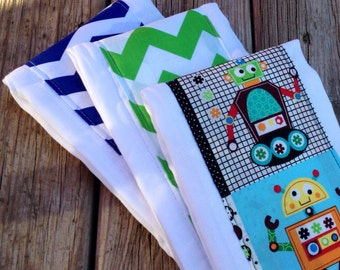 Custom Made Burp Cloths set of 3 - available in over 100 fabrics