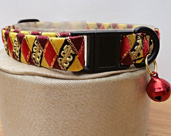 "1/2"" Wide Breakaway Cat Collar Gold and Red"