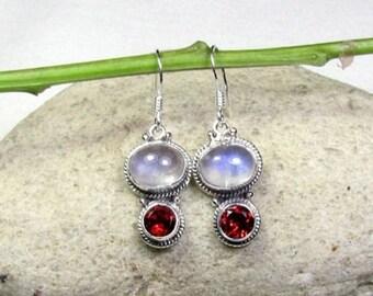ON SALE Garnet, Moonstone Gemstone Solid 925 Sterling Silver Fashion Jewelry Earrings