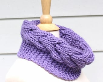 Knit scarf knit cowl, Hand knit chunky cowl scarf, circle scarf with cable, lilac purple, women's winter accessory mothers day gift