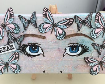Hand painted butterfly eyes 'Dream' box canvas