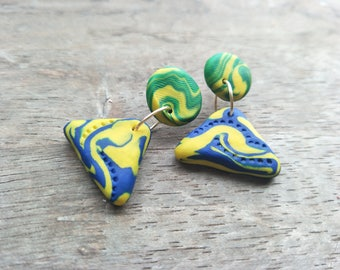 Mini Triangle Dangles - Blue and Yellow Swirls