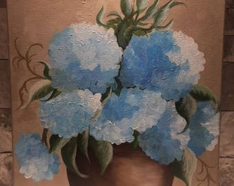 Acrylic hydrangea painting