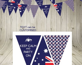 Australia Day Keep Calm and Party On Bunting Garland Australia Flag Australia printable bunting Australia party download