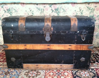 Antique Black Metal Trunk with Wood Straps Lift Out Tray