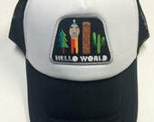 Kids/Toddler Trucker Hat- Hello World Patch- Black/Whit...
