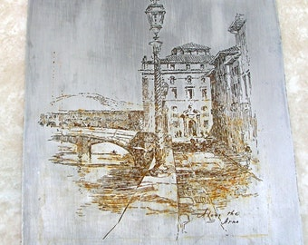 Vintage Book Printing Plate - Along The Arno - Italy - Book Plate