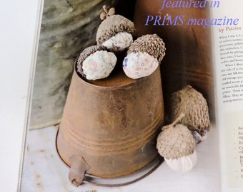Featured in PRIMS Magazine, Primitive Stuffed Acorns, Woodland Autumn Fall Decor, Old Patchwork Quilt Bur Oak Tree Cap Acorns itsyourcountry
