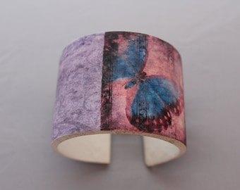 Blue Butterfly -  Polymer Clay Cuff Bracelet Hand Made by Bethsgemboutique