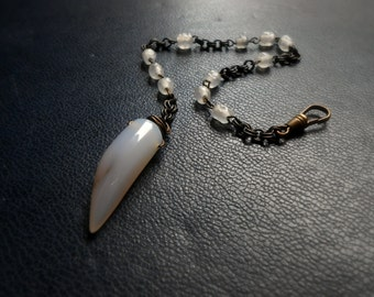 ghost rosary - extra long occult inspired rosary bracelet beaded glass and chain - handmade edgy goth jewelry