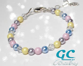 Spring Swarovski Crystal Pearl Bracelet - Sterling Silver Charms Choices - for Newborn, Baby, Girl, Teen, Adult