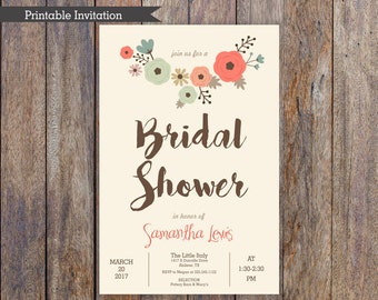 Floral Bridal Shower Invitation, 4x6, 5x7, Custom Invitation, Printable Invitation, Flowers