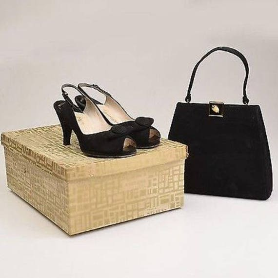 Suede Purse Shoes Pinup Shoes Palter Black Shoes Platform Peeptoe Up Purse 6B Black Shoes Shoes Set Set Suede DeLiso Pin 50s Iqg0wBUAU