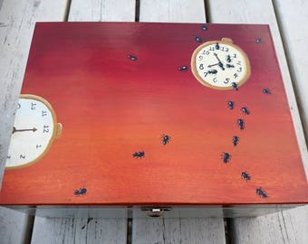 Wooden Jewellery Trinket Treasure Keepsake Memory Box, Hand Painted Acrylics, Dali Inspired, Ants, Clock, Watch, Salvador Dali, Orange, Red
